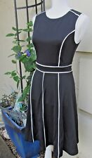 Meaneor Solid Black White Piping accents Side Zip Woman's Sleeveless Sz S Dress