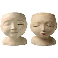 Art & Artifact Man and Woman Head Planters - Set of 2 Handpainted Resin