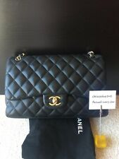 100% Genuine Chanel Black Gold Hardware Classic Jumbo Double Flap Bag
