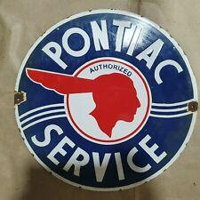 PONTIAC SERVICE VINTAGE PORCELAIN SIGN 12 INCHES ROUND