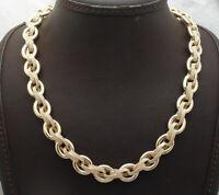 Technibond Diamond Cut Multi Oval Chain Necklace 14K Yellow Gold Clad Silver