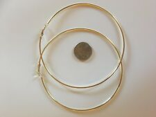 "3 PAIRS LARGE 4"" 3.5"" 3 INCH HOOP EARRINGS SILVER OR GOLD TONE SIMPLE THIN HOOPS"