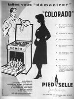 PUBLICITÉ DE PRESSE 1959 PIED SELLE PERFECTION COROLADO CUISINIÈRE ARITA