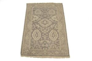 Small Entryway Muted Floral 2X3 Oushak Chobi Hand-Knotted Oriental Rug Carpet