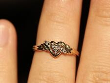 Beautiful Heart Handmade Natural Diamond 10K Yellow Gold Engagement/Promise Ring
