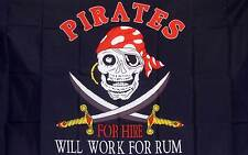 PIRATE WILL WORK FOR RUM polyester flag grommets Banner Sign Display 3'X 5'