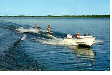 Couple Water Skiing-Motor Boat-Summer Sport Activity-Vintage Postcard