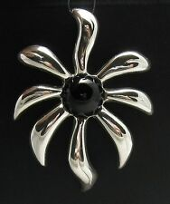 STYLISH STERLING SILVER PENDANT SOLID 925 HUGE FLOWER NATURAL BLACK ONYX NEW
