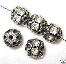 12 12mm Swarovski Rhinestone Bead Antique Brass/Crystal