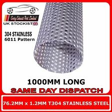 """76mm 3"""" x 40"""" (1000mm) Exhaust Repair Pipe Perforated Tube Stainless Steel T304"""