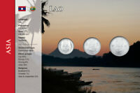 Laos, 10 - 50 Att, 3 Münzen, WKMS englisch