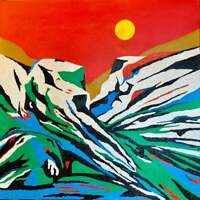 """Original Oil Painting """"SEARCHING FOR ALASKA"""" on Canvas 30"""" x 30"""" Art/Landscape"""