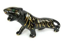 Black Panther Porcelain and Gold Accents Green Eyes Figurine Mid Century
