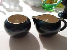 VTG Villeroy & Boch Onyx Black & Gold Sugar and Creamer Set Made in Luxembourg