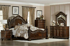NEW Traditional Brown Finish 5 pieces Bedroom Set w. King Size Poster Bed IA6L