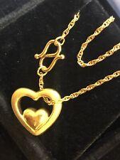 VINTAGE ESTATE 24K GOLD BRACELET DESIGNER SIGNED H&F DOUBLE HEART