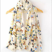 Women Silk Beach Scarf Butterfly Print Scarves Long Head Neck Wrap Chiffon Shawl