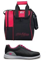 Womens MYSTIC Bowling Ball Shoes Black/Pink Sizes 5-11 & Red 1 Ball Bag