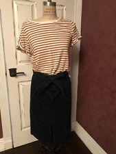 J Crew Denim Belted Front Slit Skirt Sz 29
