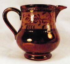 Antique Copper Luster Creamer Gold Band Sgraffito Flowers Beading