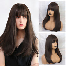 Long Straight Natural Hair with Bangs Black Brown Ombre Cosplay Wigs for Women