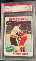 1975 Topps #100 Bobby Orr HOF Boston Bruins Graded PSA 8 NM/MT