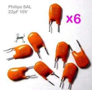 22uF 10V (6 Stück) - Philips SAL Kondensator NOS  bis 175° - extremely long life