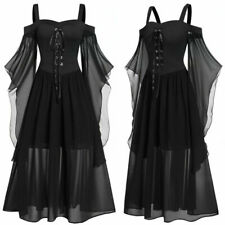 Gothic Plus Size Cold Shoulder Butterfly Sleeve Lace Up Halloween Witch Dress