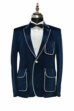 Velvet Men Suits Navy Blue Smoking Jackets Notch Lapel Blazer Dinner Prom Tuxedo