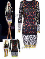 Womens Ladies Celeb Nicki Style Long Sleeve Leopard Print Bodycon Mini Dress