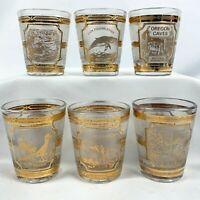 Vintage Culver 22KT Gold USA Landmark Shot Glasses Set of 6 Grand Canyon