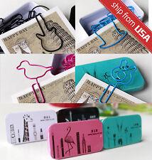 10 x 4 Assorted Bird Hat Guitar Shape Metal Paper Clips Multi-Color Cute Tin Box