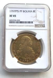 Bolivia 1797 Carol IIII 8 Escudos NGC Gold Coin,Rare