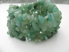 GREEN AVENTURINE GENUINE GEMSTONE CHUNKY NUGGET BEADS CUFF STRETCH BRACELET