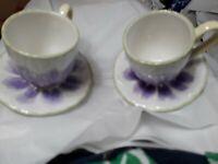 Longaberger Pottery Tulip Medley Cups and Saucers set Of 2 Purp petals Tea Cups