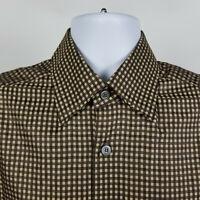 Ermenegildo Zegna Brown Gingham Check Mens Dress Button Shirt Size Medium M