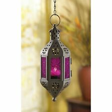 Purple hanging pierced Moroccan Fairy Lantern Candle holder outdoor terrace