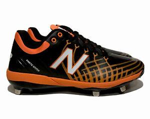 New Balance Baseball Cleats Mens Size 10.5 L4040bo5 Black Orange Metal Cleats