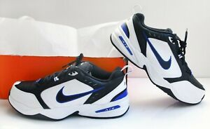 NIKE AIR MONARCH IV Men's Shoes. Black/Wht-Blue.-Leather.Size:15 4E (Extra Wide)