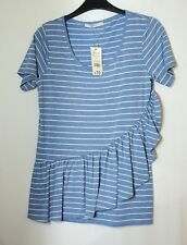 BLUE WHITE STRIPED LADIES CASUAL TOP BLOUSE SIZE 8 GEORGE JERSEY