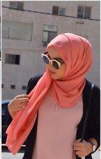 Fashion Coral Orange Pink Scarf Hijab Shawl Chiffon Rectangle Solid
