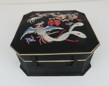 Asian Black & Tan Dragon/Serpent Satin Material Lightweight Jewelry Box