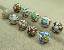 Indian Hand Painted Ceramic Drawer Knobs Lot Of 10 Pcs Cabinet Pull Hardware