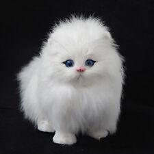 Lovely Simulation Doll Lifelike Cat Plush Animal Toy + Sound Decor Gifts White