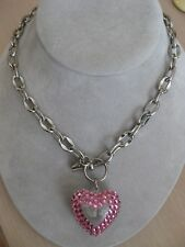 Tarina Tarantino Pink Rhinestone Clear Large Heart Link Necklace w/ Bubbles 16""