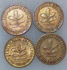 5 Pfennig 1950 D F G J Kompletter Satz