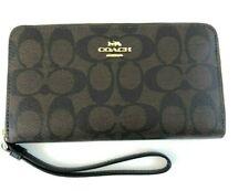 New Authentic Coach F73418 Large Phone Wristlet Wallet Signature Brown/Black