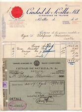 Factura y Recibo de Almacenes Ciudad de Sevilla año 1942 (DS-516)