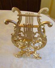 Antique Vintage Cast Metal  Lyre Harp Music Magazine Rack Stand Beautiful Cons