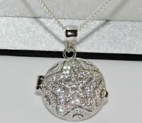 STERLING SILVER Sparkling Star & Moon Photo Locket Pendant - Choice of Chain NEW